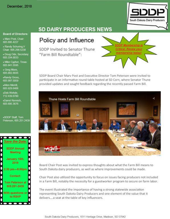SDDP Member Newsletter December 2018