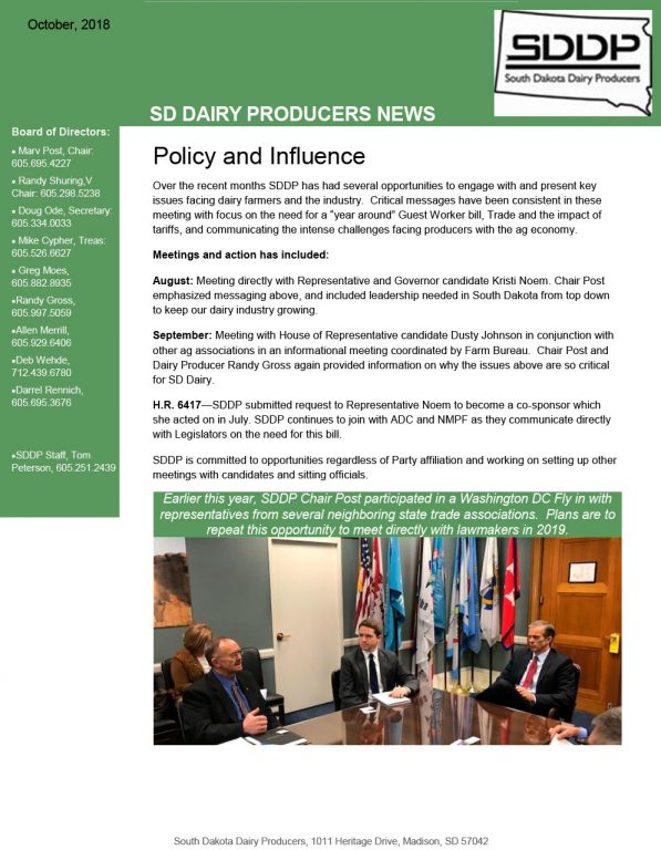 SDDP Member Newsletter October 2018