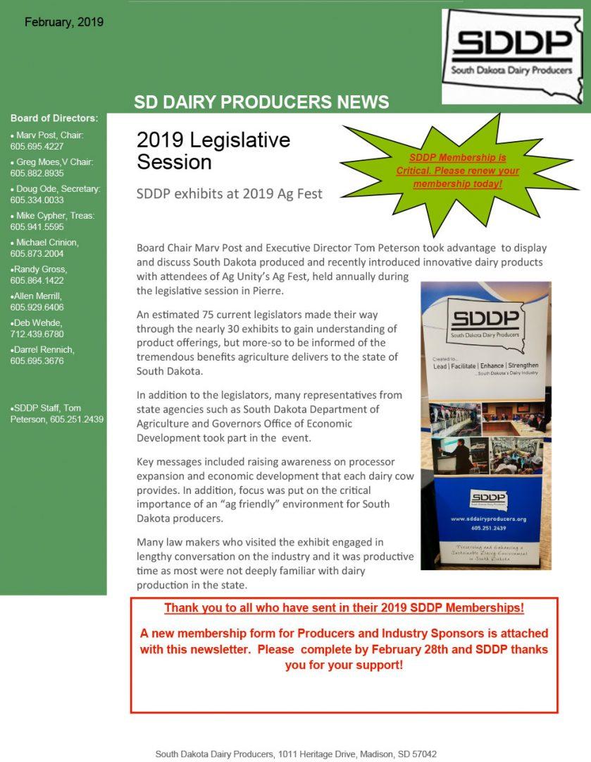 SDDP Member Newsletter February 11 2019