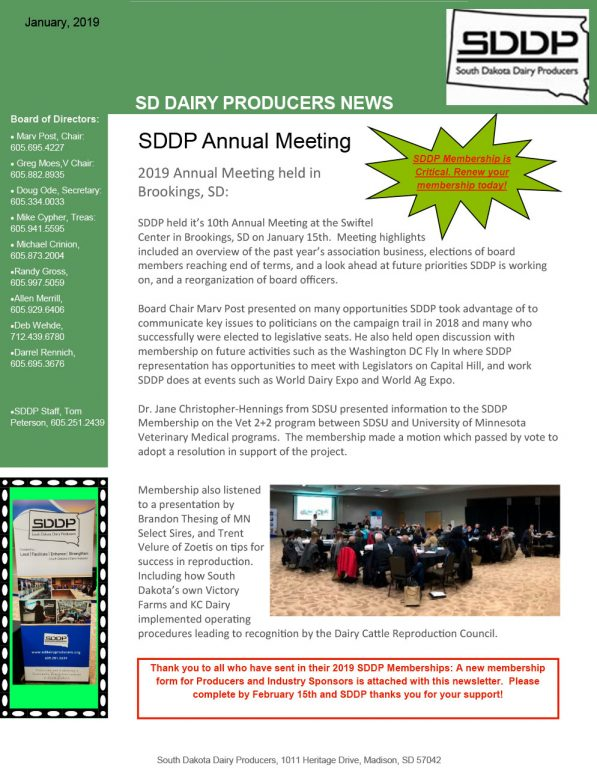 SDDP Member Newsletter January 2019
