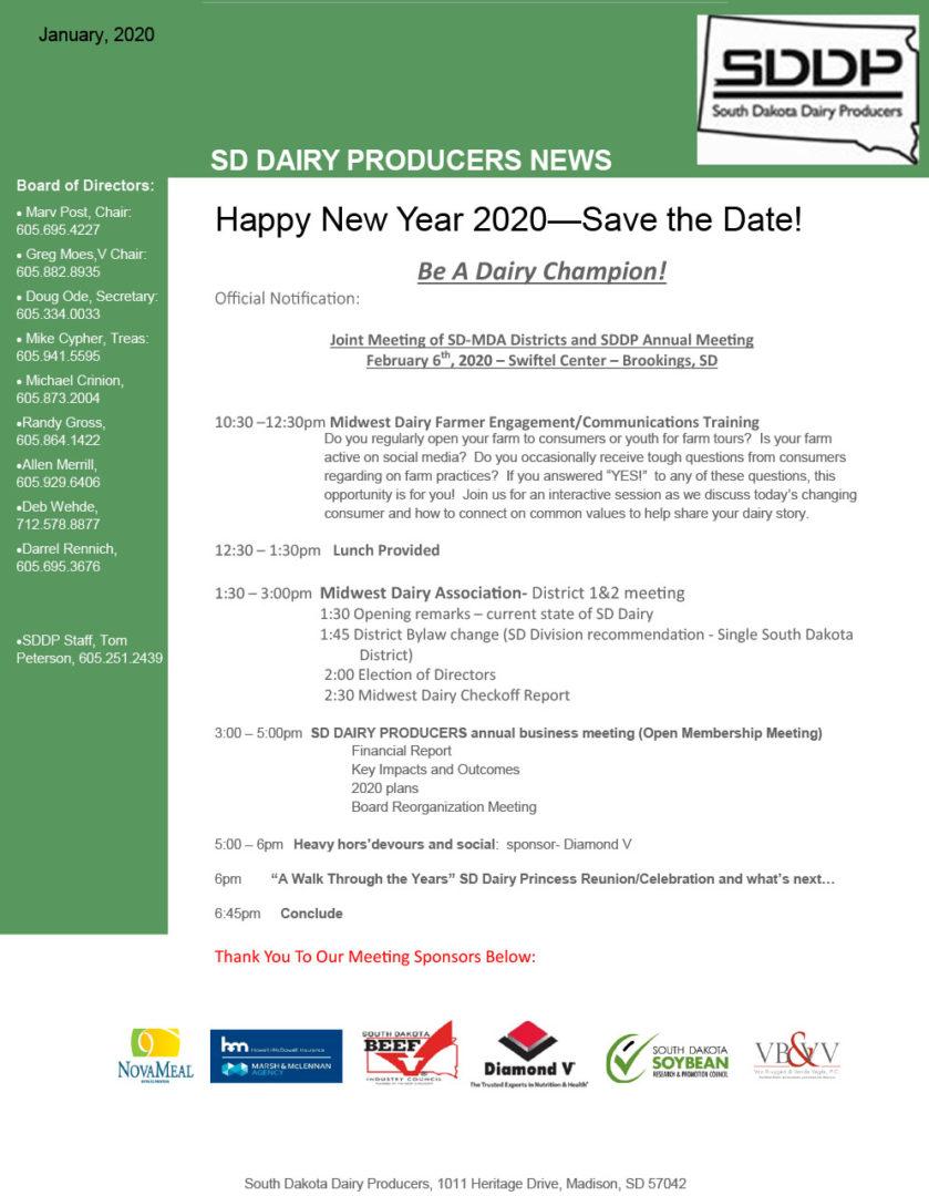 SDDP Member Newsletter January 2020