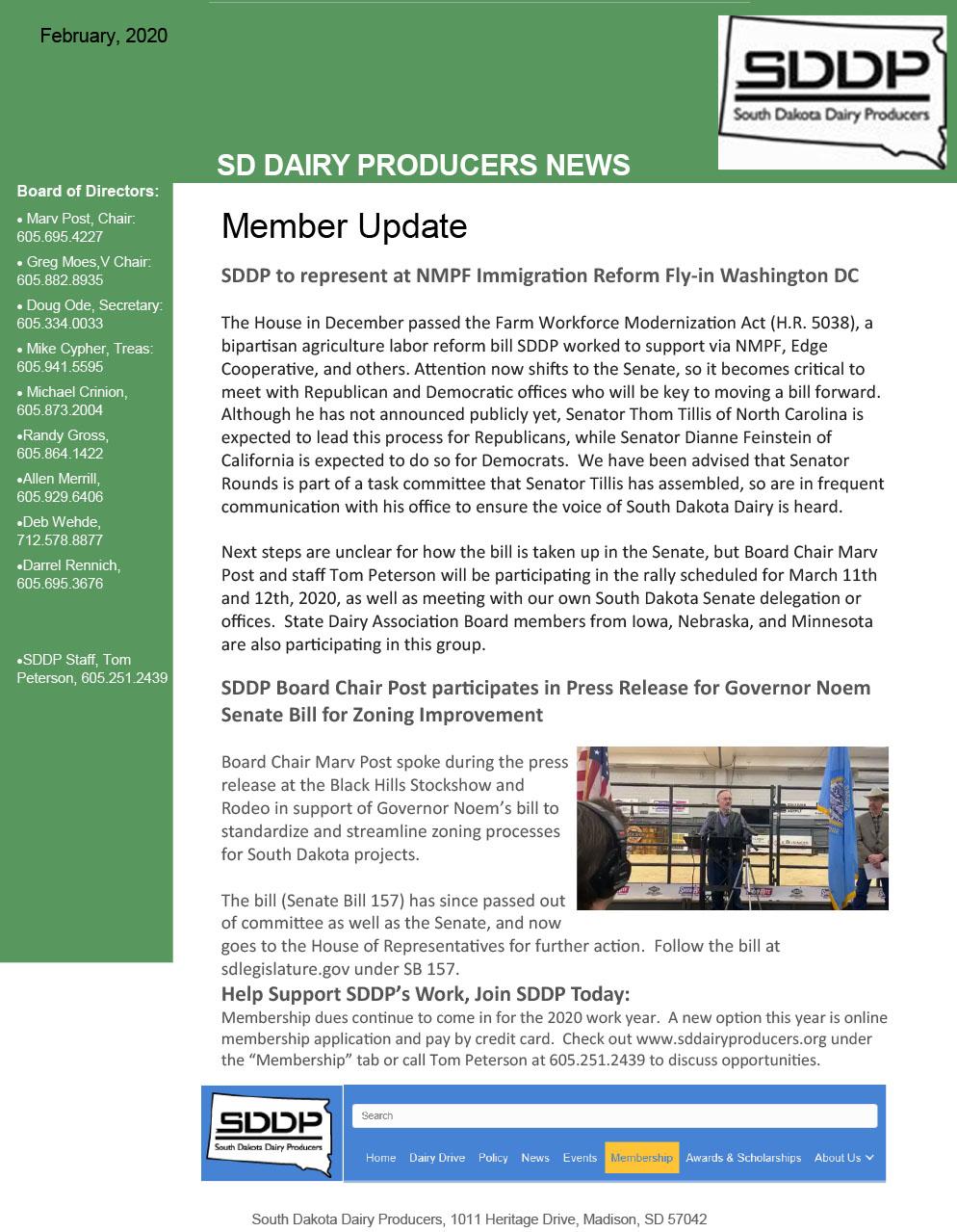 SDDP Member Newsletter February 2020
