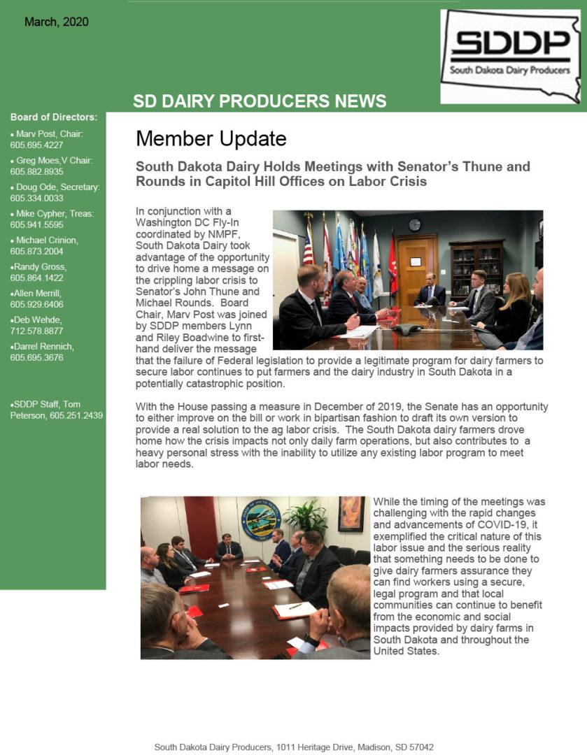 SDDP Member Newsletter March 2020