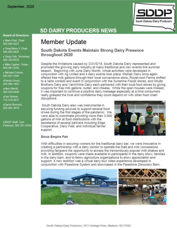 SDDP Member Newsletter September 2020