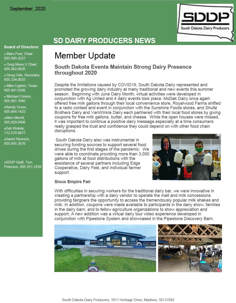 SDDP Member Newsletter September 2020