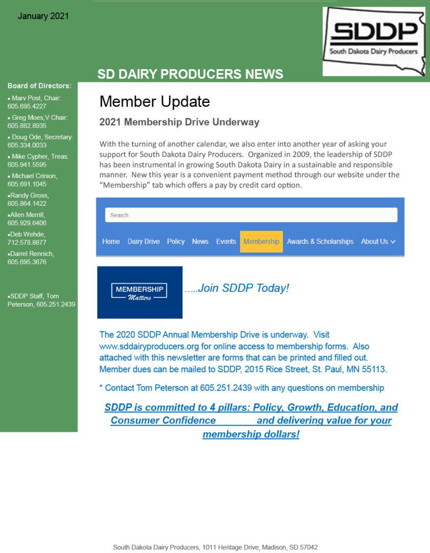 SDDP Member Newsletter January 2021