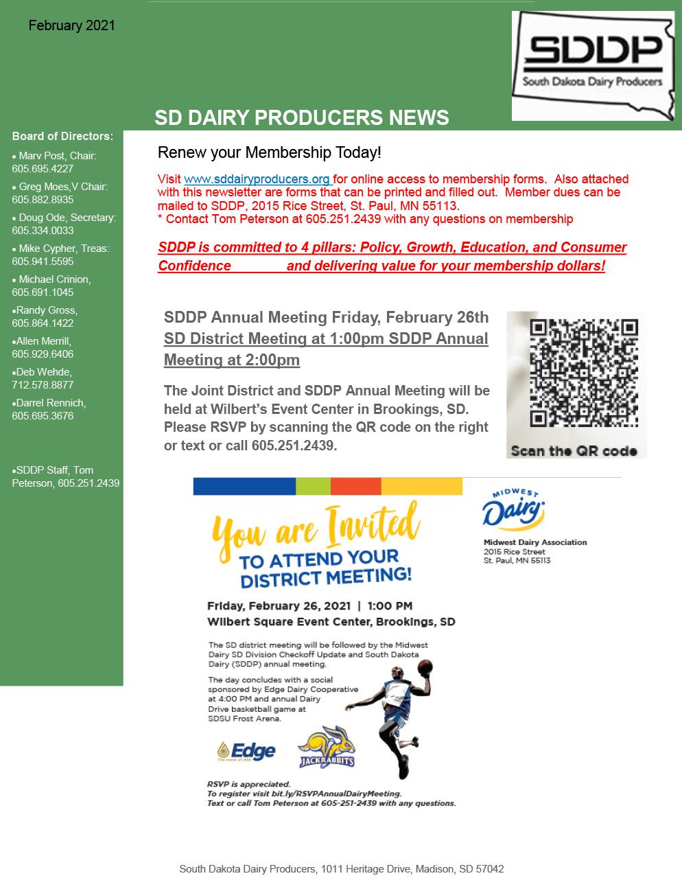 SDDP Member Newsletter February 12 2021