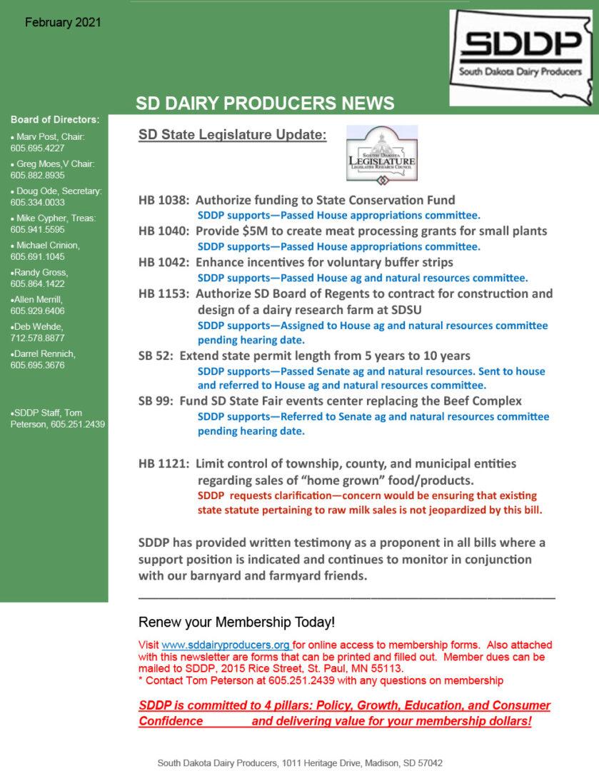 SDDP Member Newsletter February 2021