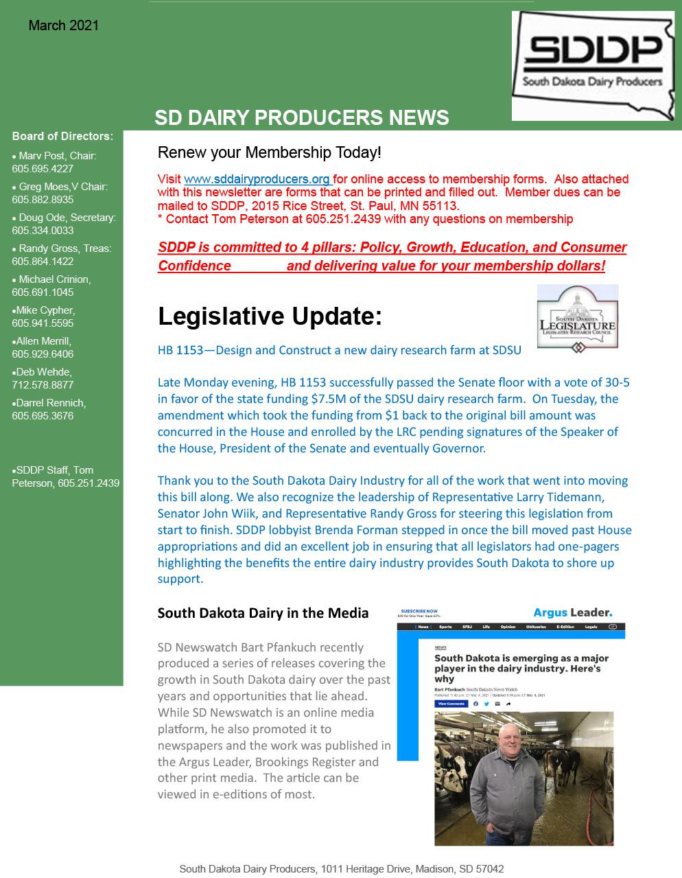 SDDP Member Newsletter March 2021