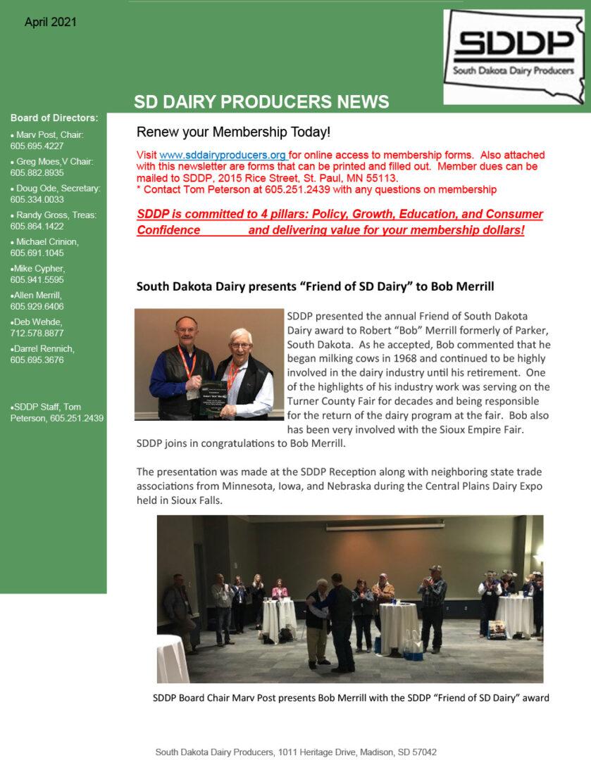SDDP Member Newsletter April 2021