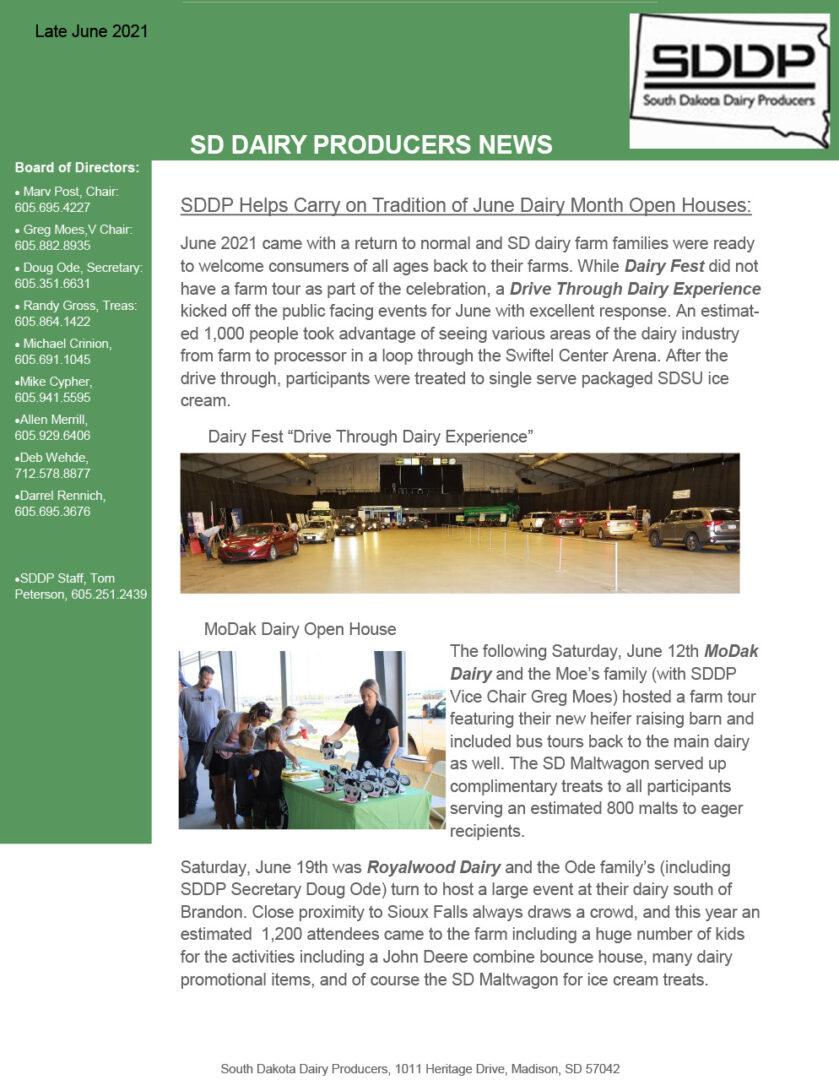 SDDP Member Newsletter Late June 2021